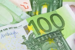 Closeup of 100 euro banknote